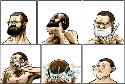 Imagen de un hombre barbudo que, después de afeitarse, se convierte en un niño