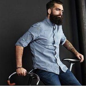 hipster barbudo con bici